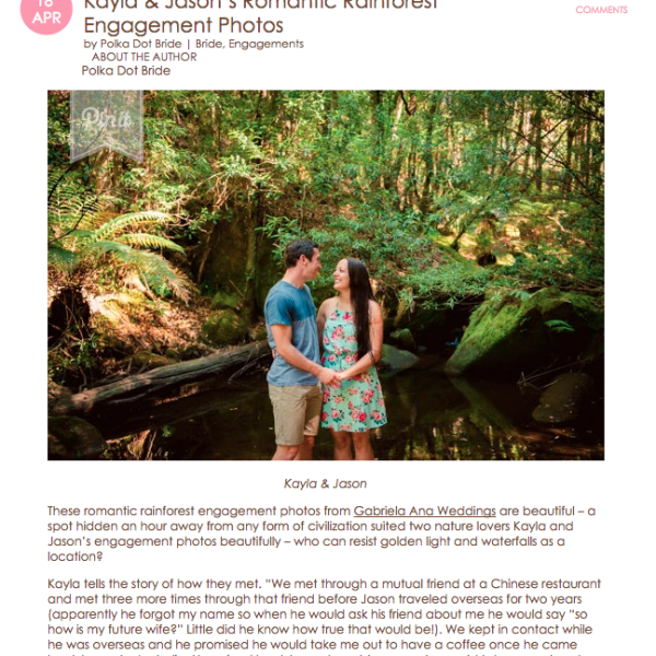 Jason and Kayla Featured on Polka Dot Bride